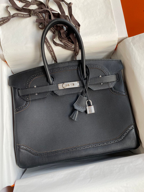 Hermes Limited Edition Black Ghillie Birkin 30cm Togo Palladium Hardware