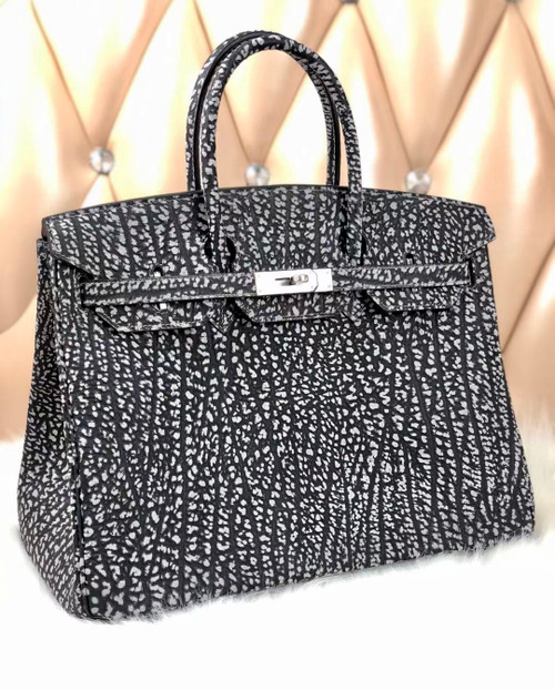 Hermes Limited Edition 30cm Black Dalmatian Buffalo Leather Birkin Bag with Palladium Hardware