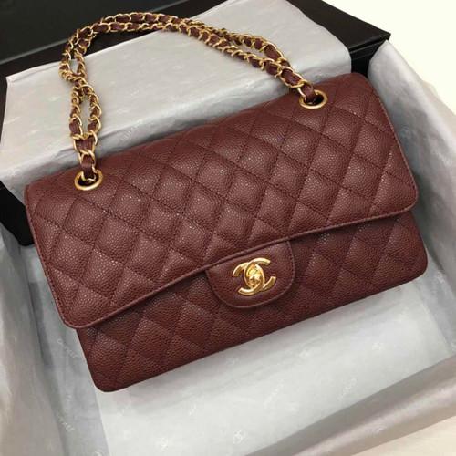 CHANEL Bordeaux Caviar Leather Classic Double Flap 2.55 Shoulder Bag Gold HW 2021