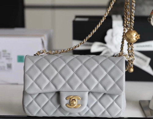 Chanel Grey Flap Bag With Charm AS1787 SS2020