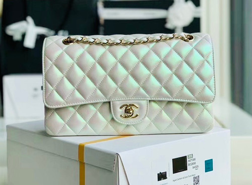 CHANEL Iridescent White Quilted Caviar Medium Double Flap Bag Cruise 2020