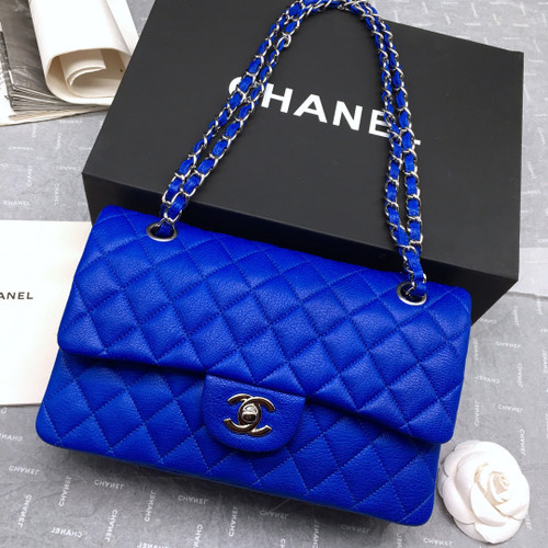 CHANEL 1112 Classic Flap Bag  Blue Deerskin Medium Silver HW