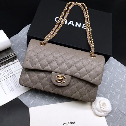 CHANEL 1112 Classic Flap Bag  Khaki  Deerskin Medium Gold HW