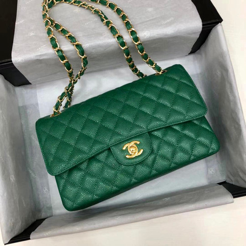 CHANEL Iridescent Emerald Quilted Caviar Medium Double Flap Bag Cruise 2020