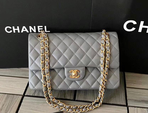 CHANEL Gray Lambskin Leather Classic Double Flap 2.55 Shoulder Bag With Gold Hardware