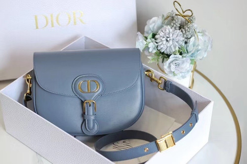 Christian Dior MEDIUM DIOR BOBBY BAG Blue Box Calfskin