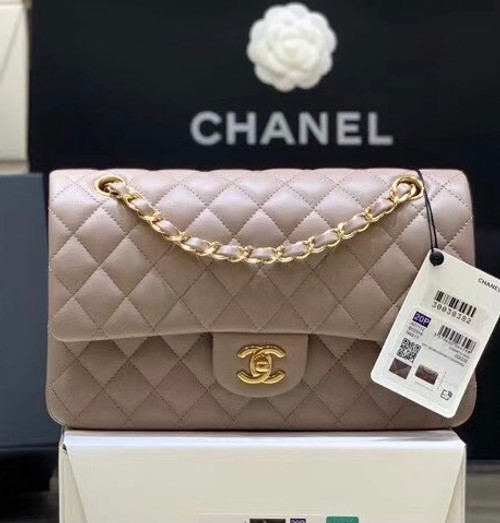 CHANEL  Gris Tourterelle Lambskin Leather Classic Double Flap 2.55 Shoulder Bag With Gold Hardware