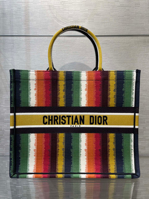 Christian Dior DIOR BOOK TOTE Multicolor D-Stripes Embroidery Reference: M1286ZRFR_M884