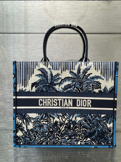 Christian Dior DIOR BOOK TOTE Blue Dior Palms Embroidery Reference: M1286ZREU_M928