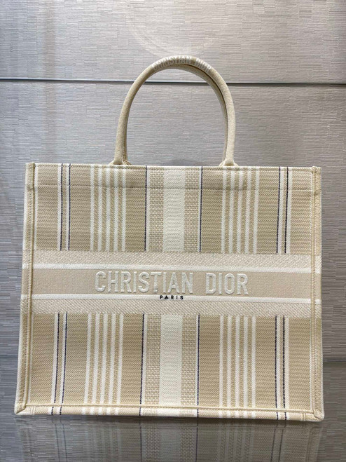 Christian Dior DIOR BOOK TOTE Beige Stripes Embroidery Reference: M1286ZJAT_M925