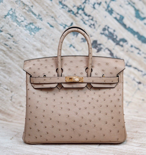 Hermes Etoupe Birkin Bag 25cm KK Ostrich Leather Gold Hardware