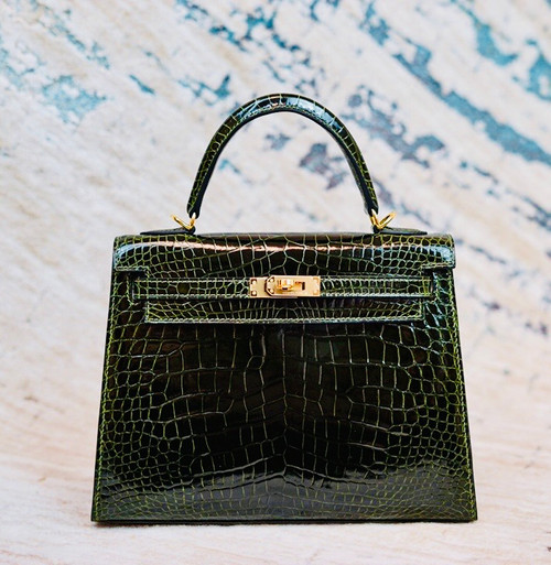Hermes Emerald Alligator KELLY 25 WITH GOLDHARDWARE
