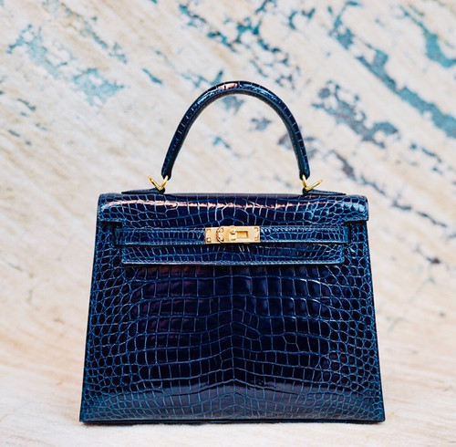 Hermes Navy Alligator KELLY 25 WITH GOLDHARDWARE