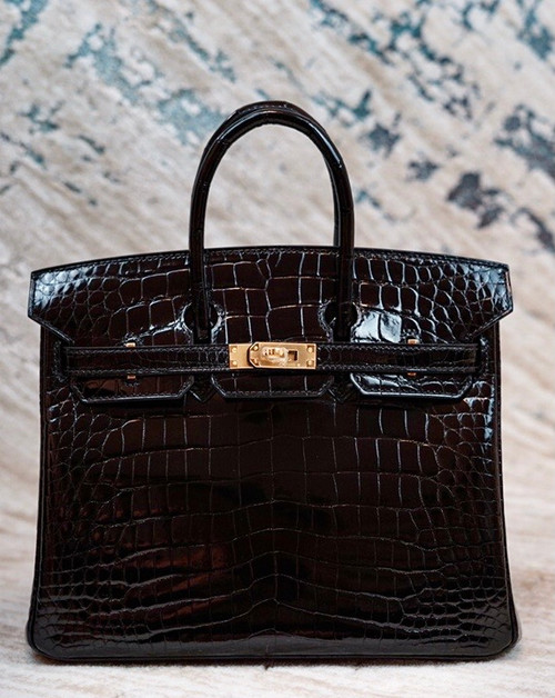 Hermes Birkin 25cm Black Shinny Alligator with Gold hardware