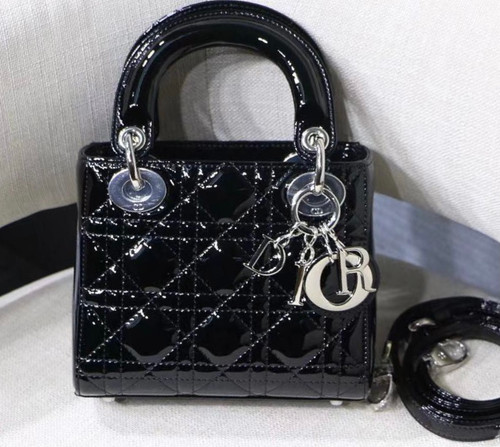 Christian Dior MINI LADY DIOR BAG Black Patent Cannage Calfskin