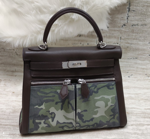 Hermes LIMITED EDITION BROWN SWIFT LEATHER & TOILE CAMOUFLAGE LAKIS KELLY 28 WITH PALLADIUM HARDWARE
