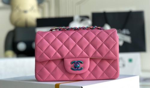 Chanel Rainbow Metal mini flap bag Pink