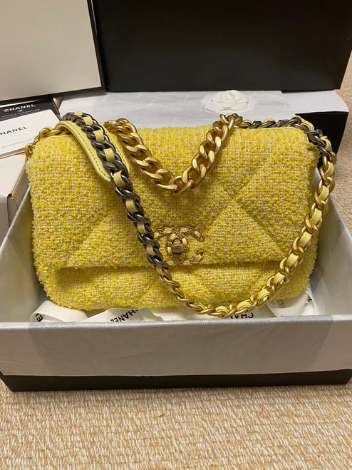 Chanel Yellow Tweed 19 flap bag