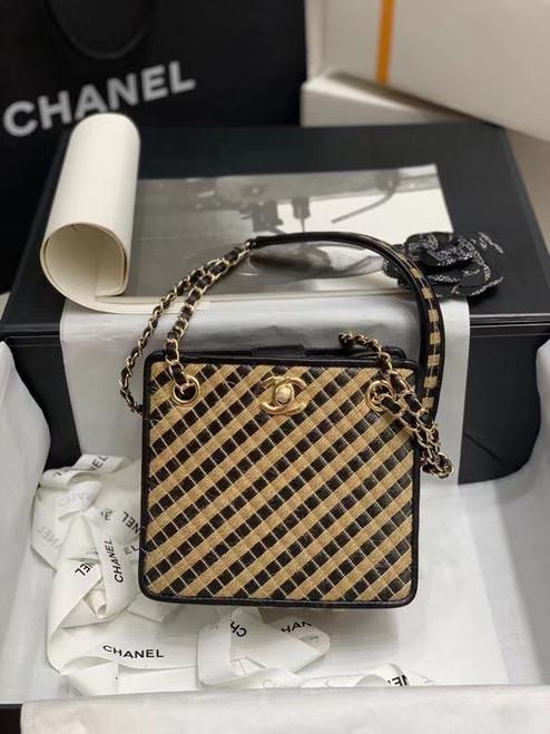 Chanel Raffia, Jute Thread drawstring bag