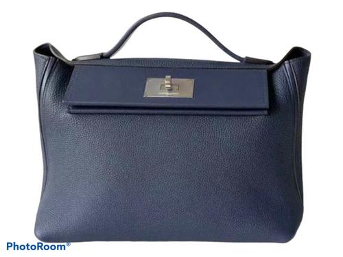Hermès Mini 24/24 – 21 Bag Blue Nuit Evercolor/Swift leather Palladium hardware