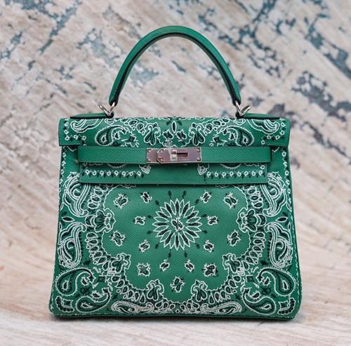Hermes x Jay Ahr Special Edition custom-embroidering Green Kelly 28 Bag Epsom Leather Palladium Hardware