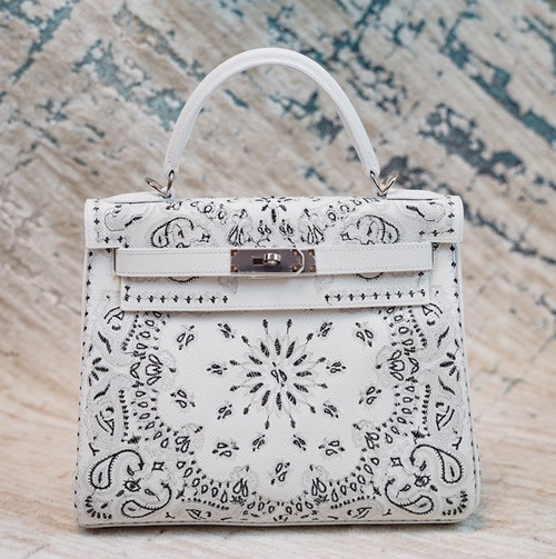 Hermes x Jay Ahr Special Edition custom-embroidering White Kelly 28 Bag Epsom Leather Palladium Hardware
