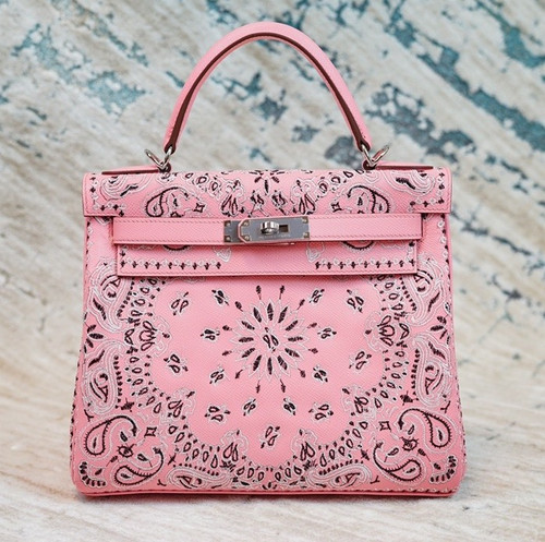 Hermes x Jay Ahr Special Edition custom-embroidering Pink Kelly 28 Bag Epsom Leather Palladium Hardware