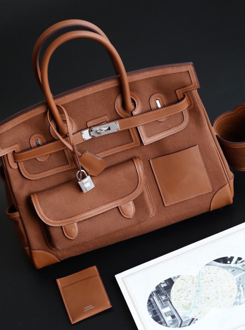 [Online Exclusive] Hermes Limited Edition Cargo Birkin 35 cm Gold Swift and canvas