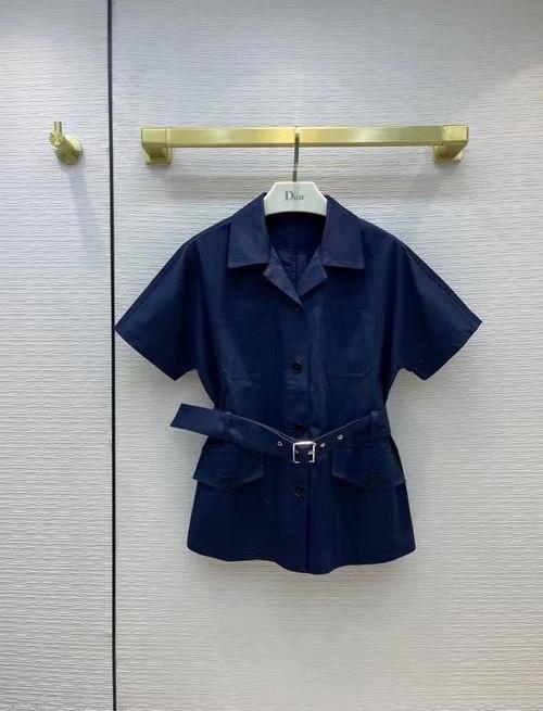 Christian Dior SHORT-SLEEVED BELTED JACKET Deep Blue Cotton Gabardine