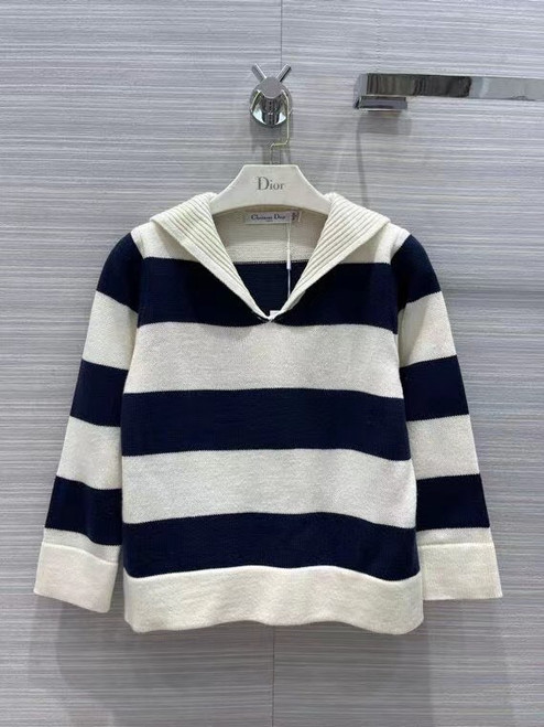Christian Dior SWEATER Navy Blue and Ecru Dior Marinière Wool and Cashmere Knit