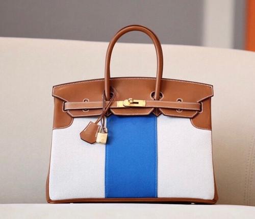Hermes Birkin 35 Flag Bag Tan BlueToile Limited Edition