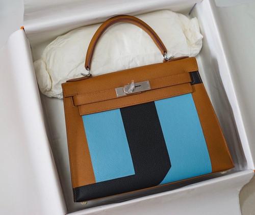 Hermes Kelly 28 Sellier Resort Gold Celeste Blue Palladium Hardware