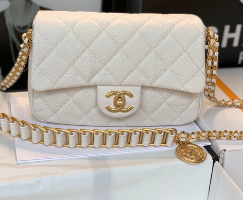 Chanel FW2021 SMALL FLAP BAG AS2528 WHITE