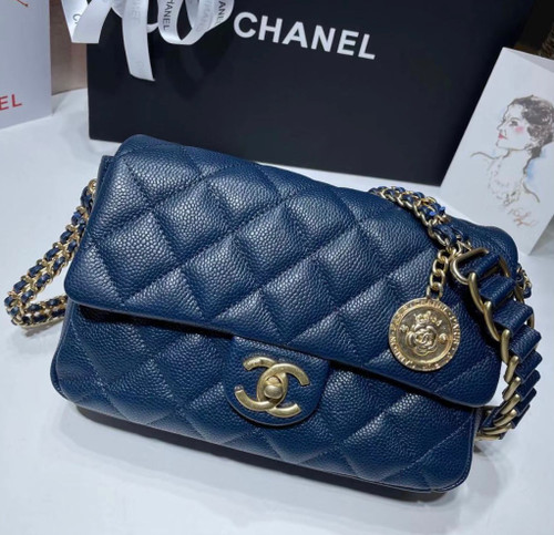 Chanel FW2021 SMALL FLAP BAG AS2528 BLUE