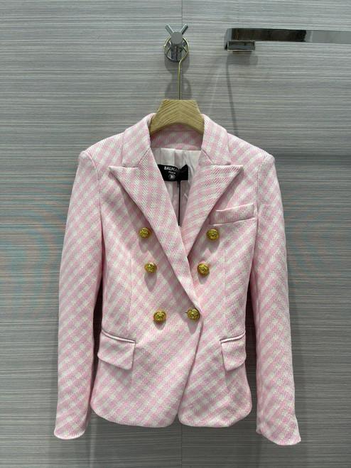 Balmain White and pale pink gingham print tweed jacket