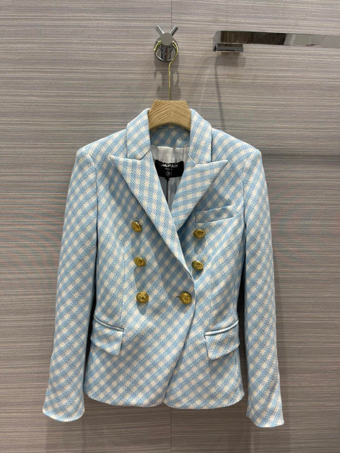 Balmain White and pale blue gingham print tweed jacket