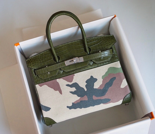 Hermes Limited Edition Birkin Bag 35 In 67 Vert Fonce Alligator and  Camouflage with Palladium hardware