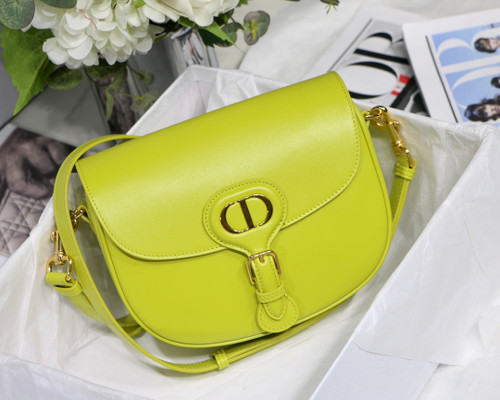Christian Dior MEDIUM DIOR BOBBY BAG Lime Box Calfskin