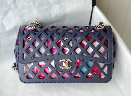 Chanel FLAP BAG AS2370 Navy Blue