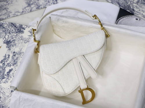 Christian Dior Mini SADDLE BAG White Dior Oblique Jacquard