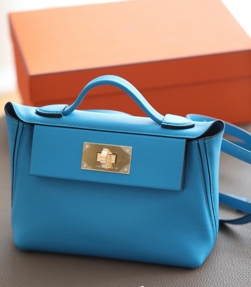 Hermès Mini 24/24 – 21 Bag Blue Aztec Evercolor/Swift leather