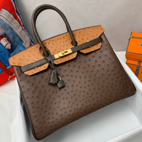 Hermès Special Order Horseshoe Ostrich Birkin 35 GHW 37Gold/47Chocolate/46 Ebene