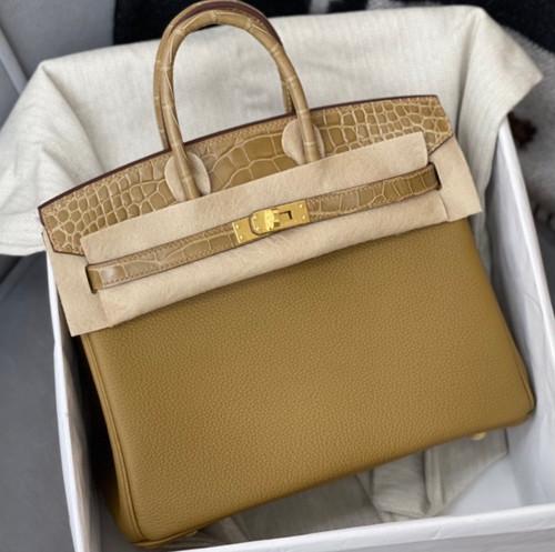 Hermès  U8 Bronze Alligator/Togo Birkin Touch 25cm Gold Hardware
