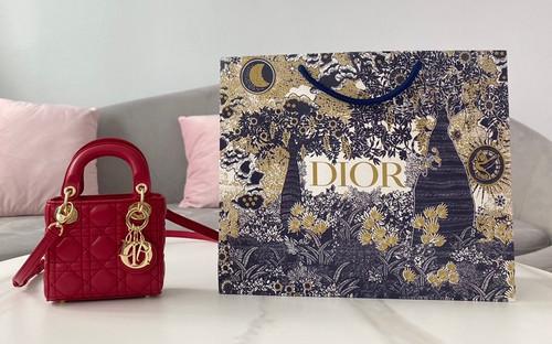 Christian Dior Red MICRO LADY DIOR BAG