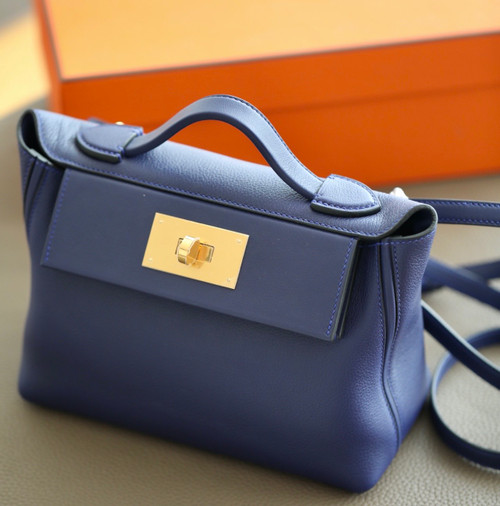 Hermès Mini 24/24 – 21 Bag M3 Blue Encre Evercolor/Swift leather