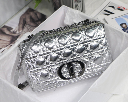 Christian Dior MEDIUM DIOR CARO BAG Silver-Tone Dior Spatial Crinkled Metallic Calfskin