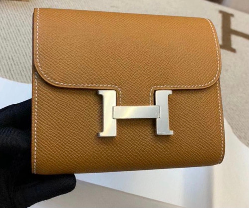 Hermes Constance Compact Passant wallet Gold Epsom Leather with Palladium Hardware