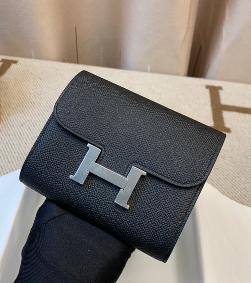 Hermes Constance Compact Passant wallet Black Epsom Leather with Palladium Hardware