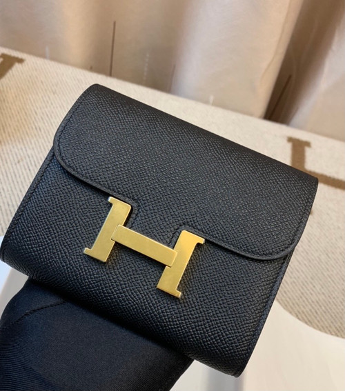 Hermes Constance Compact Passant wallet Black Epsom Leather with Gold Hardware
