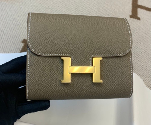 Hermes Constance Compact Passant wallet Etoupe Epsom Leather with Gold Hardware